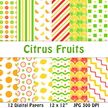 Citrus Fruits Digital Papers | Lemon, Lime, Orange, Grapefruit, Food, Summer