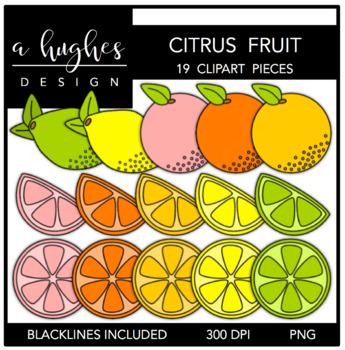 Citrus Fruits Clipart {A Hughes Design}
