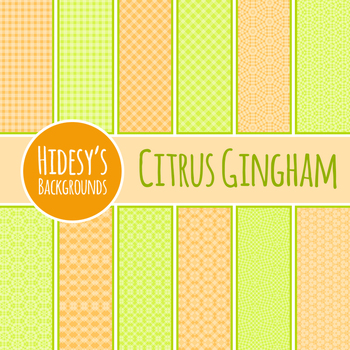 Citrus Gingham Backgrounds / Patterns / Digital Paper Clip Art Commercial Use