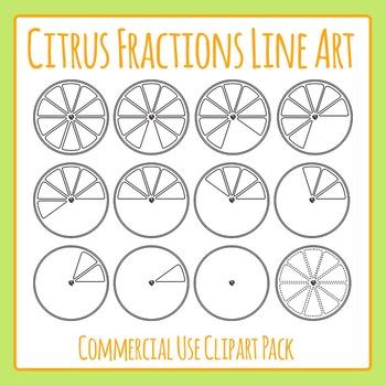 Citrus Orange or Lemons Fractions Black & White Clip Art Set for Commercial Use