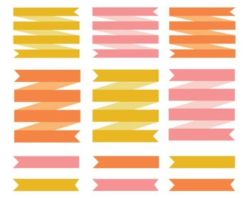 Citrus Ribbon Clip Art Set #069