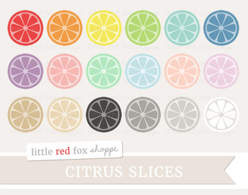 Citrus Slice Clipart; Fruit, Lemon, Lime