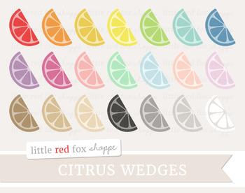 Citrus Wedge Clipart; Fruit, Lemon, Lime