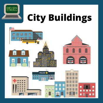 City Buildings Clip Art - Color and Line Drawings