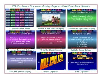 City-Country Jeopardy PowerPoint Game Slideshow