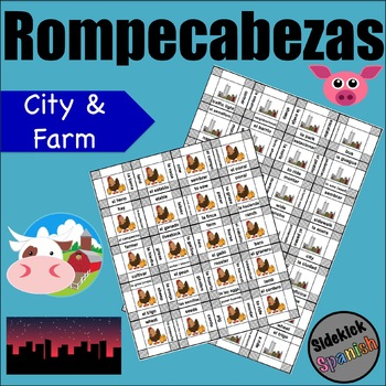City / Country (farm) Vocabulary Puzzles in Spanish