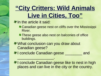 """City Critters: Wild Animals Live in Cities"" - Drawing Conclusions"