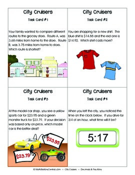 Decimals and Fractions:  City Cruisers