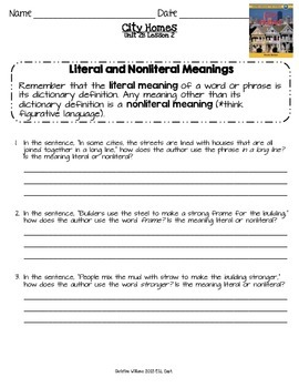 City Homes ReadyGen Lesson 2 Literal and Nonliteral Meanings