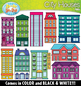 City Houses Clipart Set {Zip-A-Dee-Doo-Dah Designs}