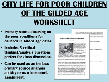 City Life for Poor Children in the Gilded Age worksheet -
