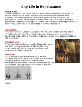 City Life in the Renaissance - Handout and questions