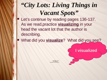 """""""City Lots: Living Things in Vacant Spots"""" Reading Comp. Strategies"""