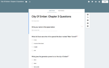 City Of Ember: Chapter 1-5 Questions. SELF GRADING via Google Forms