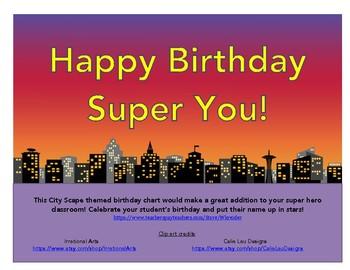 City Scape Birthday Chart