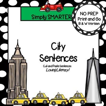 City Sentences:  NO PREP Community Themed Cut and Paste Sentences