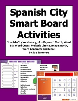 City SmartBoard 9 Games and Vocabulary - Spanish Games