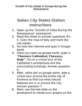City State during the Renaissance worksheet