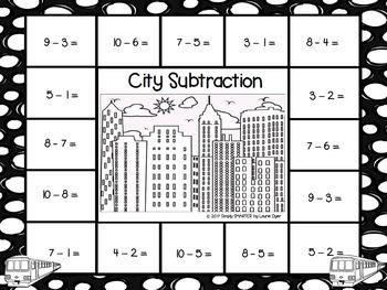 City Subtraction:  NO PREP City Themed Spot and Dot Game