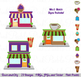 City, Town and Village Clipart with Houses, Buildings, School, Church and Barn