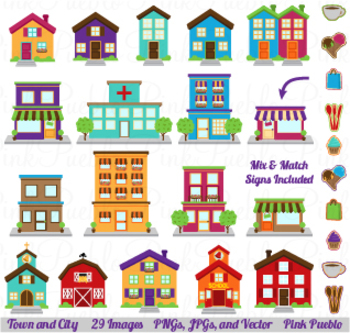 City, Town and Village Clipart with Houses, Buildings, Sch