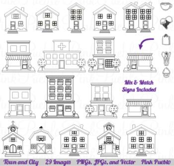 City, Town and Village Line Art Clipart Clip Art