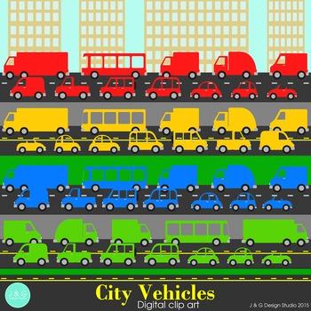 City Vehicles Clip art Primary Colors