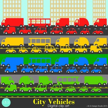City Vehicles Clip art Primary Colors
