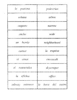 City Vocabulary Puzzles (Spanish)