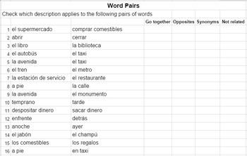 City Vocabulary Word Pairs Worksheet