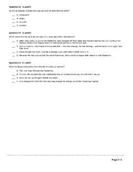 City of Ember Ch 8-9 Quiz - Multiple Choice - Answer Key Included