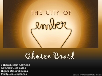 City of Ember Choice Board Novel Study Activities Book Pro