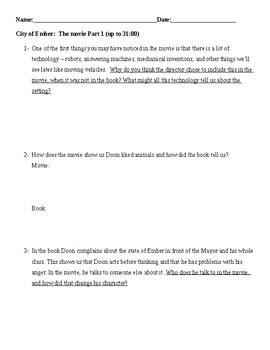 City of Ember Movie questions
