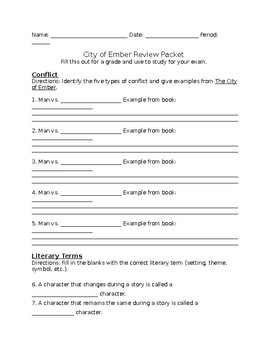 City of Ember Review Packet: 7th Grade Common Core