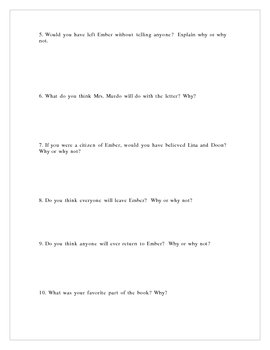 City of Ember, Short Answer Test, 10 questions