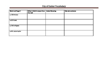 City of Ember Vocabulary Chart