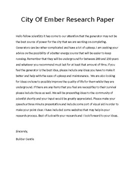 City of Ember end of Unity research paper