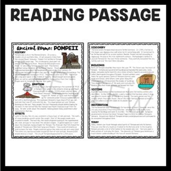 City of Pompeii and Mt. Vesuvius  Reading Comprehension Worksheet; Roman Empire