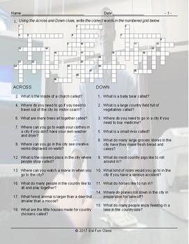 City versus Country Living Crossword Puzzle Worksheet