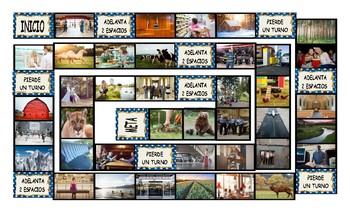 City versus Country Living Spanish Legal Size Photo Board Game