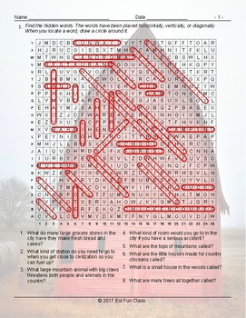 City versus Country Living Word Search Worksheet