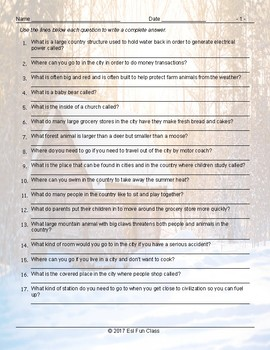 City versus Country Living Write Complete Answers Worksheet