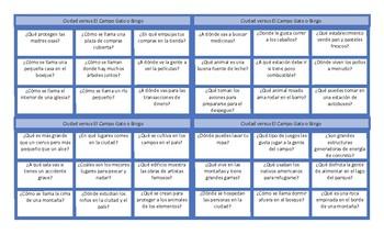 City versus Country Spanish Tic-Tac-Toe or Bingo Game