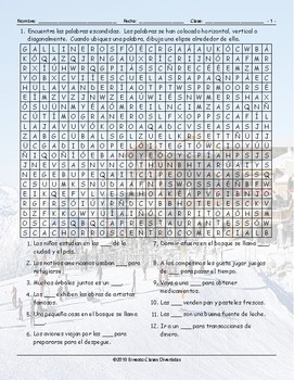 City versus Country Spanish Word Search Worksheet