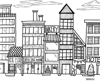 Cityscape 2 Coloring Page by KoolKat's Art Bin | TpT