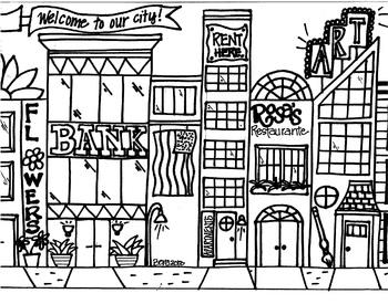 Cityscape Coloring Sheet