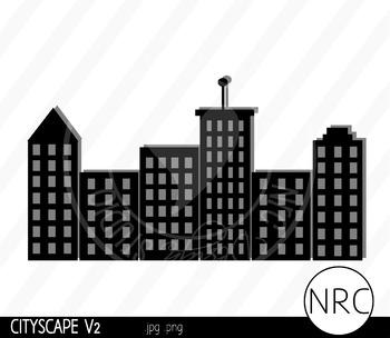 Cityscape Skyline Clip Art V2 - Commercial Use Clipart