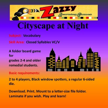 Cityscape at Night Folder Game Vocabulary Closed Syllables VC/V