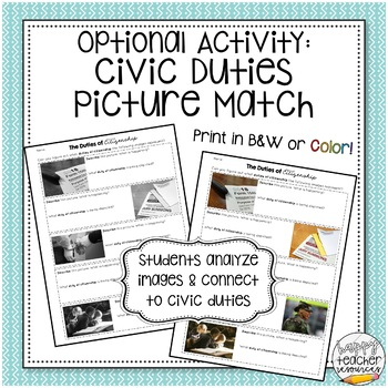 Civic Duties & Responsibilities | Article & Picture Analysis Activity