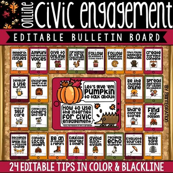 Digital Citizenship Posters, Activities, & Bulletin Board Set: Civic Engagement